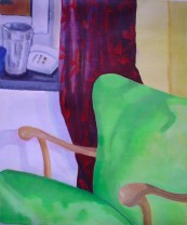 Grön fåtölj. Akryl på duk.