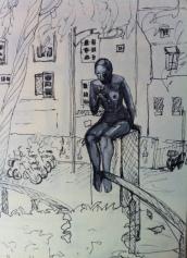 Staty. Kvinna med slända.