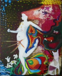 Naken kvinna springer