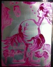 Steg 1, påmålning med gummi arabicum