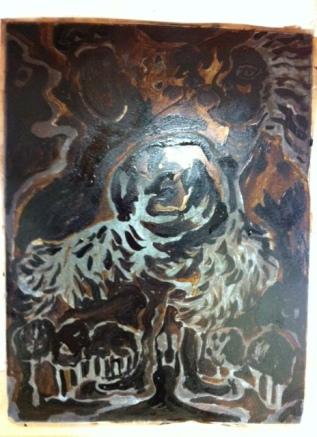 Aquatinta, sista påmålningen, de nakna fläckarna ska bli svarta